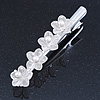 Bridal/ Prom/ Wedding Silver Tone Clear Crystal, Simulated Glass Pearl Lily Hair Beak Clip/ Concord Clip - 12cm Length
