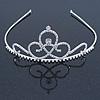 Bridal/ Wedding/ Prom Rhodium Plated Austrian Crystal Triple Heart Tiara