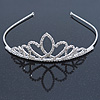 Bridal/ Wedding/ Prom Rhodium Plated Austrian Crystal Double Heart Tiara