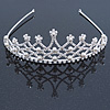 Bridal/ Wedding/ Prom Rhodium Plated Faux Pearl, Austrian Crystal Royal Style Tiara