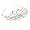 Bridal/ Wedding/ Prom Rhodium Plated Austrian Crystal 'Petals' Tiara