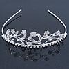 Delicate Bridal/ Wedding/ Prom Rhodium Plated Austrian Crystal Floral Tiara