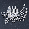 Statement Bridal/ Wedding/ Prom/ Party Rhodium Plated Clear Swarovski Sculptured Flower Crystal Hair Comb - 9cm Width