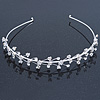 Bridal/ Wedding/ Prom Rhodium Plated Clear Crystal Floral Tiara Headband