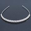 Bridal/ Wedding/ Prom Rhodium Plated Clear Crystal 2 Row Tiara Headband