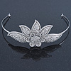 Bridal/ Wedding/ Prom Silver Tone Austrian Crystal Flower Tiara Headband