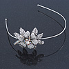 Vintage Inspired Bridal/ Wedding/ Prom Silver Tone Austrian Crystal Flower Tiara Headband