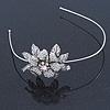 Vintage Inspired Bridal/ Wedding/ Prom Silver Tone Austrian Crystal Flower Tiara Headband