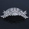 Bridal/ Wedding/ Prom/ Party Rhodium Plated Swarovski Crystal Flower & Leaf Hair Comb/ Tiara - 13cm