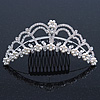 Bridal/ Wedding/ Prom/ Party Rhodium Plated Swarovski Simulated Pearl, Crystal Hair Comb/ Tiara - 13.5cm