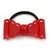 Red Acrylic Bow Pony Tail Hair Elastic/Bobble - 70mm Width