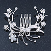 Bridal/ Wedding/ Prom/ Party Rhodium Plated Clear Swarovski Crystal Floral Hair Comb - 85mm