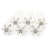 Bridal/ Wedding/ Prom/ Party Set Of 6 Rhodium Plated Crystal Daisy Flower Hair Pins