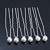 Bridal/ Wedding/ Prom/ Party Set Of 6 Rhodium Plated Crystal Simulated Pearl Hair Pins