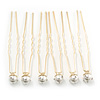 Bridal/ Wedding/ Prom/ Party Set Of 6 Gold Plated Crystal Simulated Pearl Hair Pins