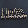 Bridal/ Wedding/ Prom/ Party Set Of 6 Gold Plated Crystal 'Butterfly' Hair Pins