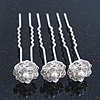 Bridal/ Wedding/ Prom/ Party Set Of 3 Rhodium Plated Crystal Simulated Pearl Rose Flower Hair Pins