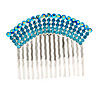 Rhodium Plated Blue/AB Gradient Swarovski Crystal Hair Comb - 60mm