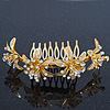 Bridal/ Wedding/ Prom/ Party Gold Plated Clear Swarovski Crystal Floral Hair Comb - 95mm