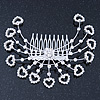 Statement Bridal/ Wedding/ Prom/ Party Rhodium Plated Clear Swarovski Sculptured Heart Crystal Hair Comb - 11.5cm Width