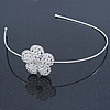 Bridal/ Wedding/ Prom Rhodium Plated White Faux Pearl, Crystal Flower Tiara Headband