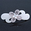 Light Silver/ Light Grey Acrylic Crystal '3D Flower' Barrette Hair Clip Grip - 85mm Across