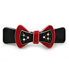 Black/ Red Acrylic Crystal Bow Barrette Hair Clip Grip - 80mm Across