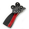 Black/ Red Acrylic Crystal Flower Barrette Hair Clip Grip - 85mm Across
