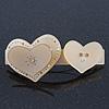 Sand Coloured Crystal 'Double Heart' Plastic Barrette Hair Clip Grip - 85mm Across