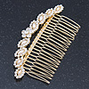 Bridal/ Wedding/ Prom/ Party Gold Plated Clear Crystal, Light Cream Faux Pearl Hair Comb - 95mm