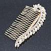 Bridal/ Wedding/ Prom/ Party Gold Plated Clear Crystal, Simulated Pearl Leaf Hair Comb - 95mm