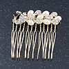 Bridal/ Wedding/ Prom/ Party Gold Plated Clear Crystal, Simulated Pearl 'Peacock' Hair Comb - 50mm