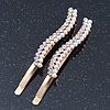 2 Bridal/ Prom Crystal, Simulated Pearl Wavy Hair Grips/ Slides In Gold Plating - 60mm Across