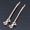2 Bridal/ Prom Long Crystal, Simulated Pearl 'Bow' Hair Grips/ Slides In Gold Plating - 85mm Across