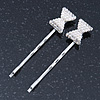 2 Bridal/ Prom Crystal, Simulated Pearl 'Bow' Hair Grips/ Slides In Rhodium Plating - 55mm Across