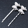 2 Bridal/ Prom Simulated Pearl, Crystal 'Bow' Hair Grips/ Slides In Rhodium Plating - 55mm Across