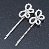 2 Bridal/ Prom Crystal, Simulated Pearl 'Open Butterfly' Hair Grips/ Slides In Rhodium Plating - 60mm Across