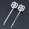 2 Bridal/ Prom Crystal, Simulated Pearl 'Open Rose' Hair Grips/ Slides In Rhodium Plating - 60mm Across