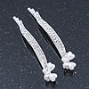2 Bridal/ Prom 'Crystal Leaf And Simulated Pearl Butterfly' Hair Grips/ Slides In Rhodium Plating - 55mm Across