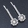 2 Bridal/ Prom Crystal, Simulated Pearl Filigree Flower Hair Grips/ Slides In Rhodium Plating - 55mm Across