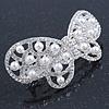 Bridal Wedding Prom Silver Tone Simulated Pearl Diamante 'Asymmetrical Butterfly' Barrette Hair Clip Grip - 65mm Across