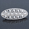 Bridal Wedding Prom Silver Tone Simulated Pearl Diamante 'Buckle' Barrette Hair Clip Grip - 65mm Across