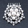 Bridal/ Wedding/ Prom/ Party Rhodium Plated Austrian Clear Crystal, Simulated Glass Pearl 'Open Flower' Hair Comb - 55mm