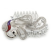 Rhodium Plated Clear Austrian Crystal 'Peacock' Hair Comb - 80mm