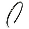 Classic Thin Crystal Black Acrylic Alice/ Hair Band/ HeadBand