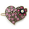 Vintage Inspired Pink Crystal 'Heart' Hair Slide In Antique Gold Metal - 35mm Across