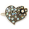 Vintage Inspired AB Crystal 'Heart' Hair Slide In Antique Gold Metal - 35mm Across