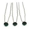 3pcs Bridal/ Wedding/ Prom/ Party Emerald Green Crystal Hair Pin Set In Silver Tone - 70mm L