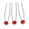 3pcs Bridal/ Wedding/ Prom/ Party Red Crystal Hair Pins In Silver Tone - 70mm L