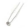 Bridal/ Wedding/ Prom/ Party Single Clear Crystal Hair Pin In Silver Tone - 70mm L